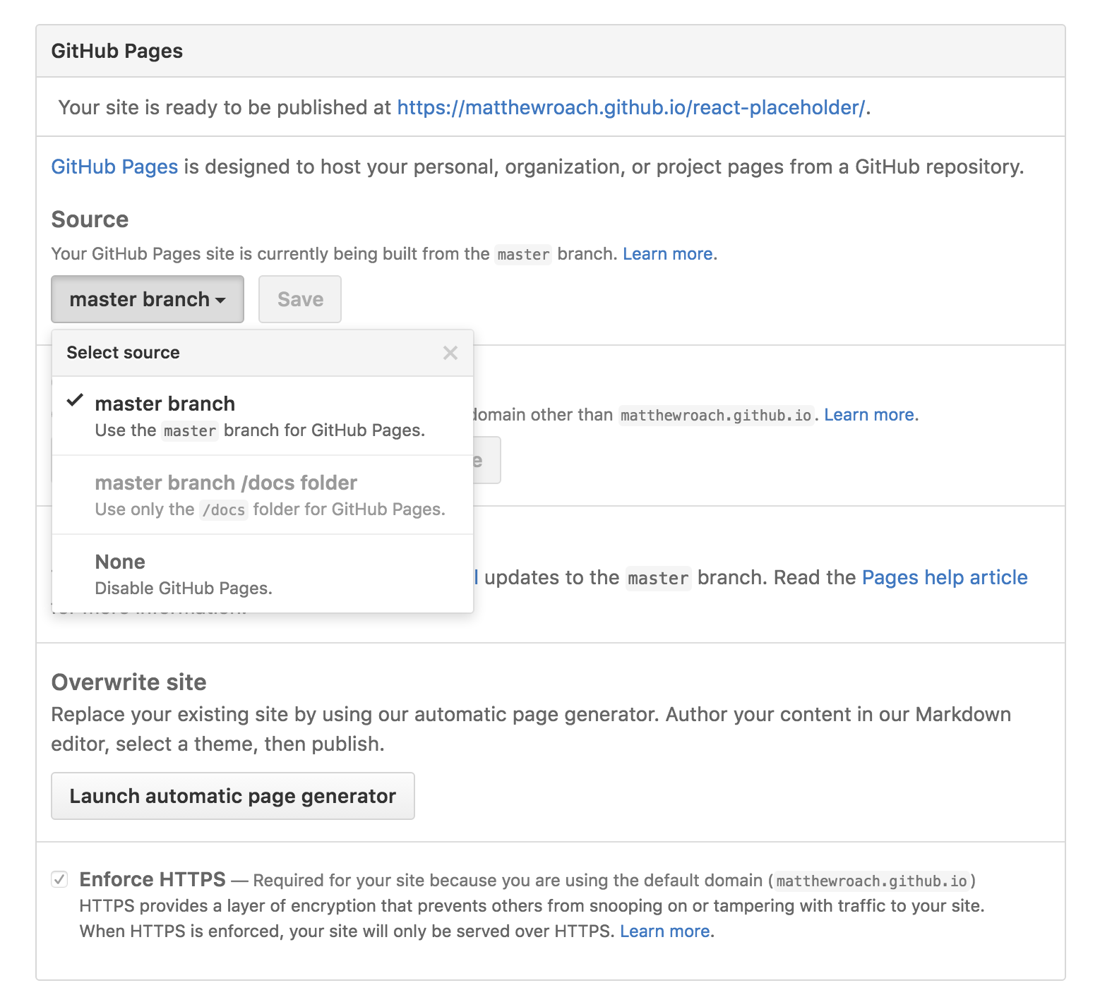 GitHub Pages Repository Settings