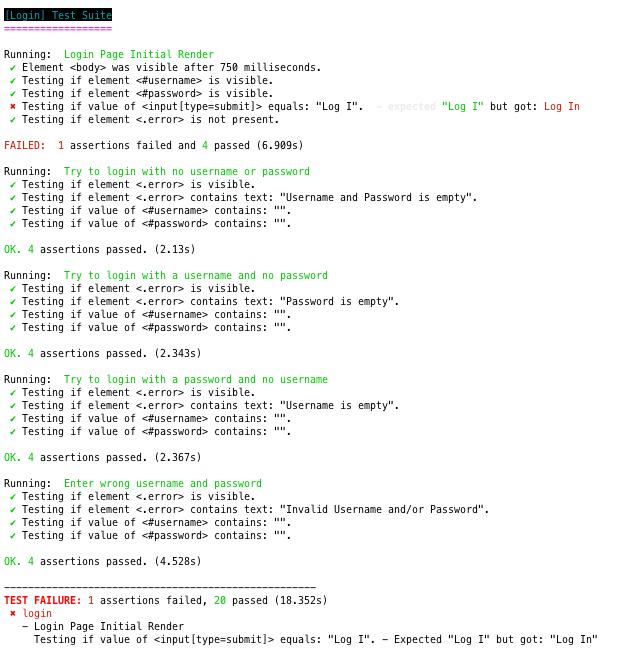 Nightwatch error output